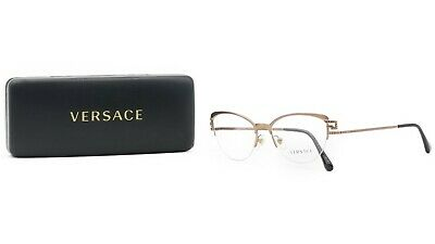 Versace MOD 1239-B 1386 Rose Gold/Crystals New Authentic Eyeglasses 53mm w/ Case
