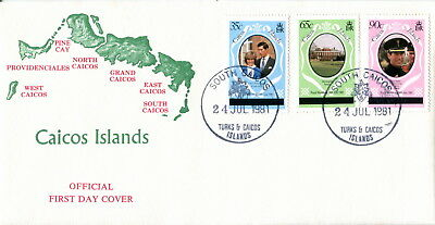 1981 Turks & Caicos Type 2 ovpt. Royal Wedding Charles & Diana. First Day Cover