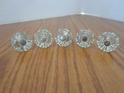 Lot of 5 Antique Glass Drawer Pulls Dresser Knobs Handles - VGC