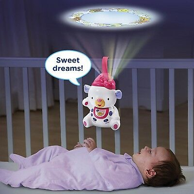 Crib Mobile Projector Baby Good Night Light Lullaby Pink Bear Sleep Songs