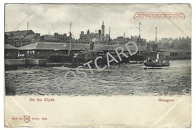 1904 Printed 'hold to light'  PC Glasgow, Ships on the Clyde