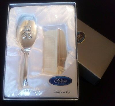 Christening, new baby gift Silver Plated Teddy hair brush and comb set boxed NEW