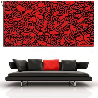 "Keith Haring ""Humans"", HD Print on canvas, Picture for wall Art painting 20x40"""