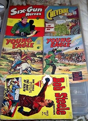 5 x Western Comics all by L. Miller London Six-Gun Hero, Young Eagle, Cheyenne