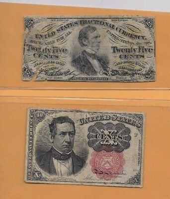 2 Notes For The Price Of One!! (2 Old Fractional Notes )1800's (2 For 1 Money)#1