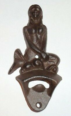 Cast Iron Mermaid Bottle Opener~Wall Mount~Beach~Bar~Nautical~Tiki~Beer~ManCave