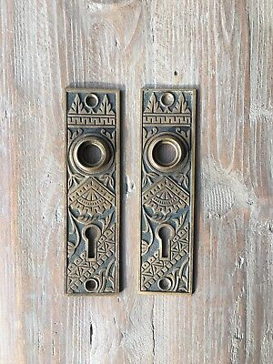 Pair Antique Solid Brass Eastlake Escutcheons Back Plate Door Knob 4860