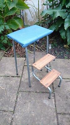 Vintage Retro Kitchen Fold Out Steps Stool Breakfast Bar Dining Chair Industrial