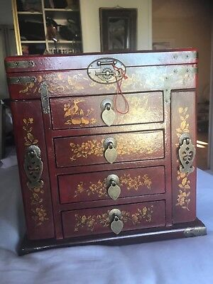 Antique Chinese Jewelry Box~ Red & Gold W/Peacocks flowers And Brass LG Chest