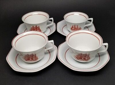 Lot of 4 - Vintage Wedgwood FLYING CLOUD RUST Oversized CUP AND SAUCER SET Ship