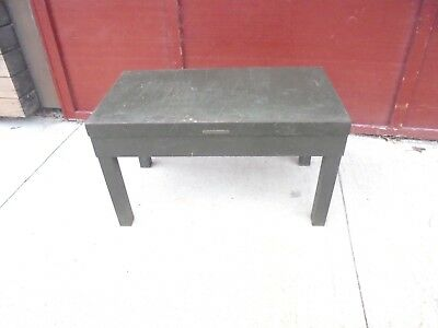 vintage metal bench table library bureau makers army green industrial decor #1