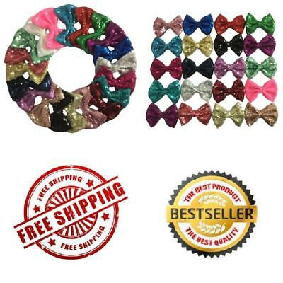 Yazon 20pcs 4 inch Sequin Hair Bows With Clips Baby Sequin Bows Girl's Hair Clip