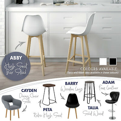2x/4x Bar Stool Dining Chair Kitchen PU Leather Swivel Adjustable Wooden Seat