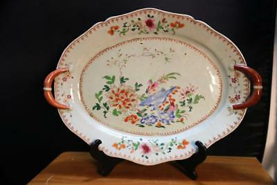 Antique 19Th Century Chinese  Export Porcelain  Platter Large Plate