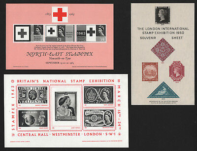 OPC Lot of 3 1950-60's GB Stamp Exhibition Souvenir Sheets