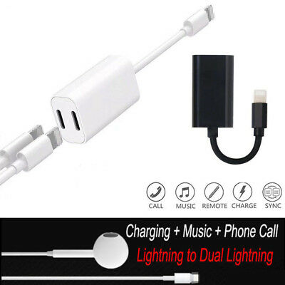 2 in 1 Lightning to Dual Headphone Adapter Charge Cable For iPhone 7 8 Plus X
