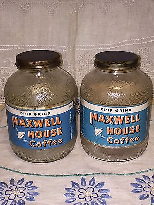 Lot Of 2 Vintage Maxwell House Coffee Jars With Label 1940s Drip Grind