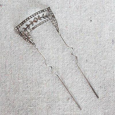 Antique French Parisian Belle Epoque Sterling Silver Paste Hair Comb Pick Tiara
