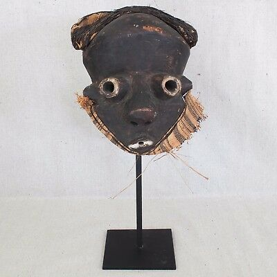 Vintage Mid Century African Pende Ceremonial Mask Mbuya Tundu Clown Mask 17""