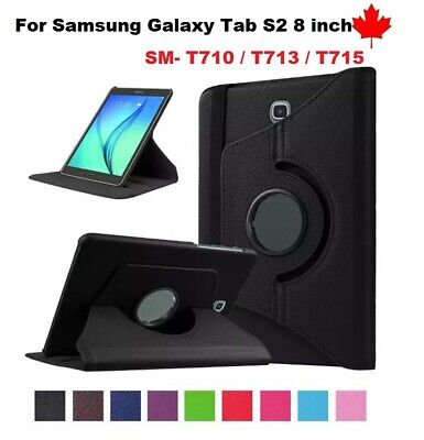 """For Samsung Galaxy Tab S2 8.0"""" SM-T713n T715, 360° Leather Stand Case Cover"""
