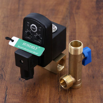 """Automatic Electronic Timed Air Compressor Condensate Auto Drain Valve 220V 1/2"""""""