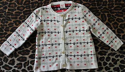 SEED HERITAGE ~ Unisex Child White Navy & Red Swiss Cross Cardigan ~ 12 to 18m