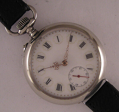 UNIQUE All Original 1900 Antique Swiss HUGE SILVER Wrist Watch Perfect Serviced