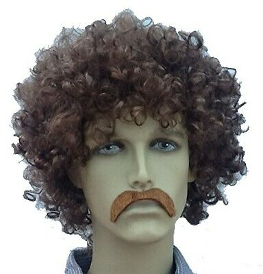 Brown Afro Style Fancy Dress Wig & Droop Self Adhesive Moustache . Uk Dispatch