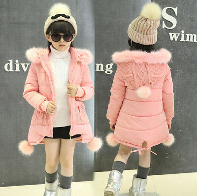Kids Girls Winter Hooded Hoodies Outwear School Coat Jacket Long Overcoat Parka