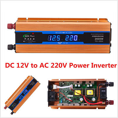 2600W Car DC12V to AC220V Power  Inverter Converter USB Charger Digital Voltage