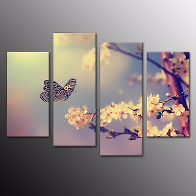 Canvas Print Wall Art Painting Pictures Home Decor Butterfly Flowers 4pcs