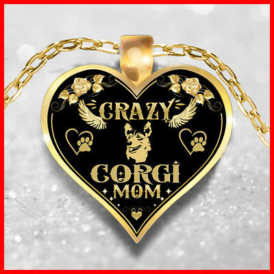 Crazy Corgi Mom Necklace, Corgi Jewelry, Corgi Dog Pendant