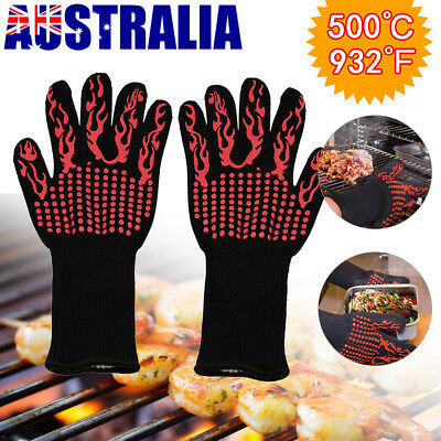 932°F/500°C BBQ Grilling Gloves Premium Insulated Silicone Gloves Cooking Tool