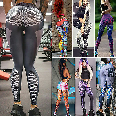 Womens Running Yoga Fitness Leggings Gym Sports Pants Compression Tight Trousers