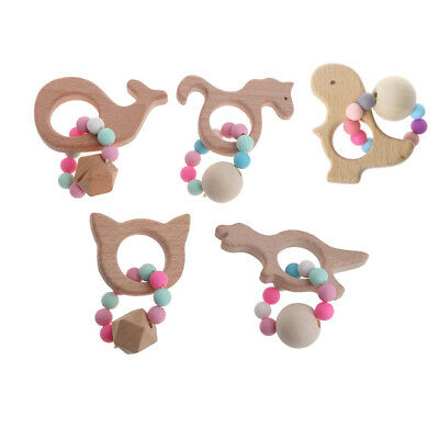 Baby Wooden Bracelets Teether Newborns Silicone Beads Teething Rattles Toys