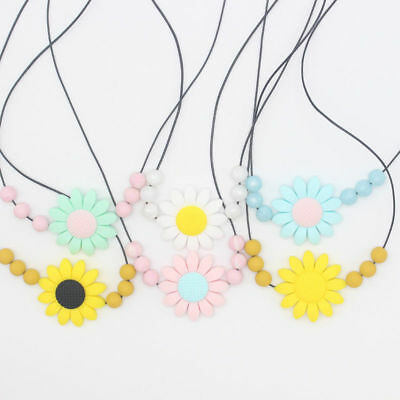 Baby Silicone Sunflower Teether Flower Chain Pendant Beads Necklace Teething Toy