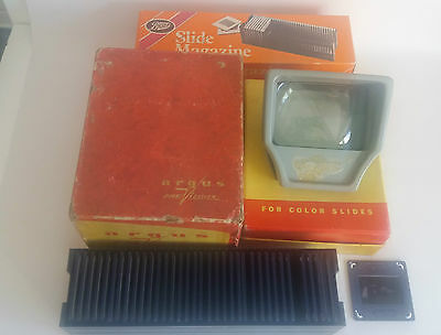 Vintage Argus Pre Viewer for Color Slides, in Original Box + Box of Slides