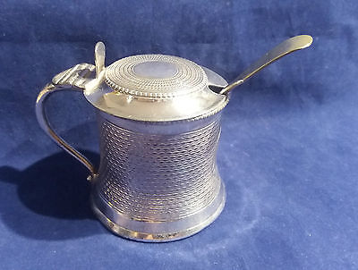 Vintage Silver Plated Mustard / Sauce Pot with Blue Glass Liner & S/P Spoon