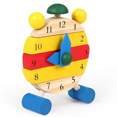 Funny Kids Blocks Early Learning Building Children Educational Wooden Toy Clock