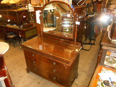 Antique  Mahogany Edwardian Dressing Table With Mirror 3 Draws Glass Top