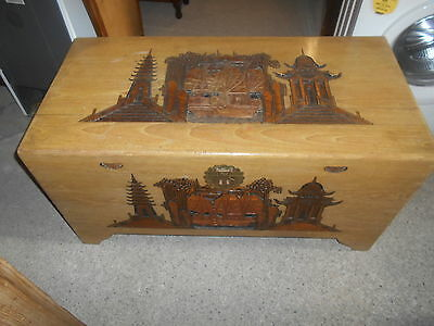 Oriental Vintage  Trunk Chest Camphor  Hand Box Blanket Carved Boat Scene