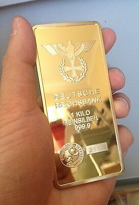 1 Kilo kg DEUTSCHE REICHSBANK 24K gold gilded collector bar RRP $190