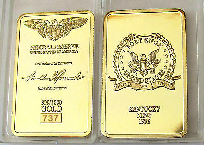 1 Oz 1936 Kentucky Mint Finished 999 24K Gold Bullion Bar Rrp $50