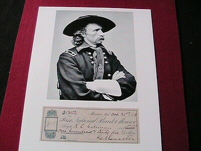 General Custer reprint with signed cheque
