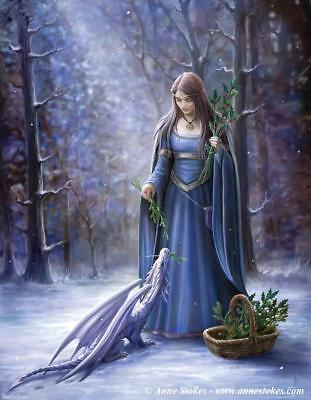 Solstice Gathering Greetings Card Anne Stokes yuletide fantasy Christmas dragon