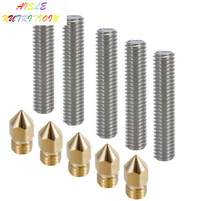 PChero 5pcs 30MM Length Extruder 1.75mm Tube and 0.4mm Brass Nozzle Print...