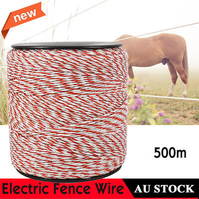 AU SHIP Electric Fence 500m Roll Energiser Poly Rope Insulator Stainless Steel