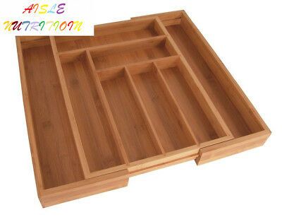 Totally Bamboo Large Expandable Cutlery Tray & Drawer Organizer; with 8...