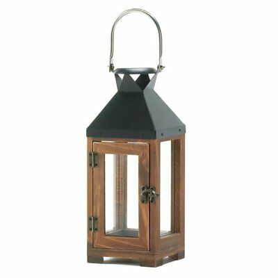 Wood Lantern Candle Holder, Wooden Small Antique Candle Lantern Outdoor Glass