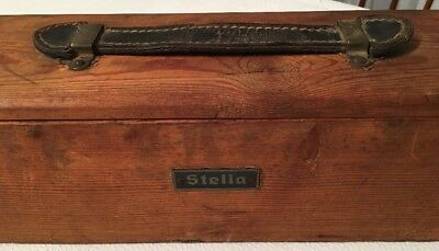 Antique Stella Movie Projector Screen in WOOD DOVETAILED BOX Fantastic